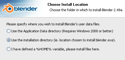 Blender: Install Location (use installation directory, not application data)
