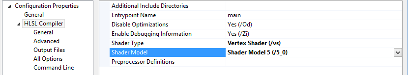 Shader Model Compile Options (Visual Studio 20120)