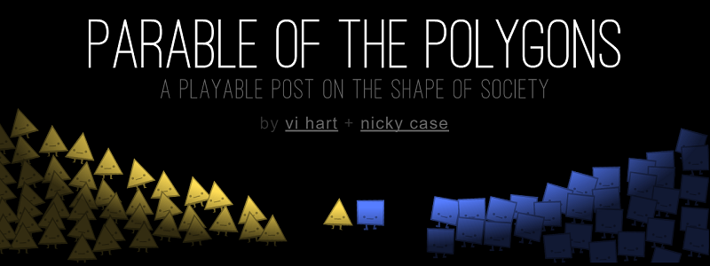 "Parable Of The Polygons | How harmless choices can make a harmful world (<a href=""http://ncase.me/polygons/"">ncase.me/polygons)"